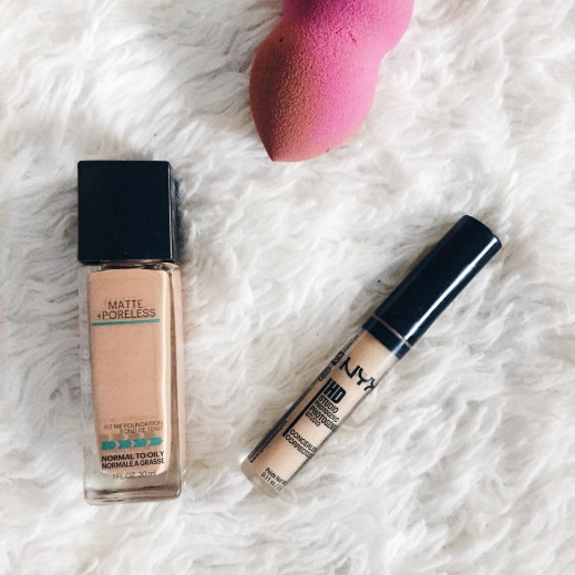 maybelline foundation and nyx concealer